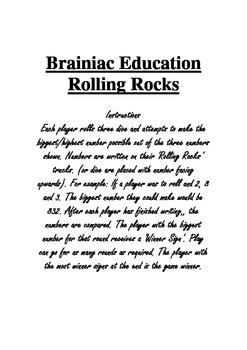 Rolling Rocks Biggest Number Game
