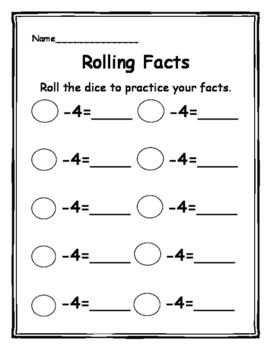 Rolling Subtraction Facts