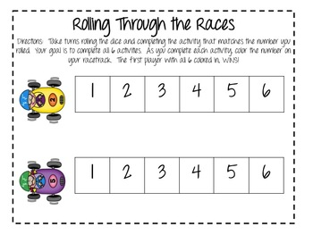 Rolling Through the Races (Reading and Math Review Partner Activity)