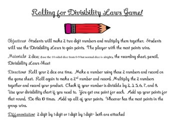 Divisibility Laws Game