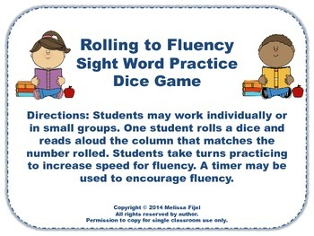 Rolling to Fluency Dice Game