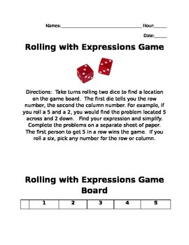 Rolling with Expressions Game