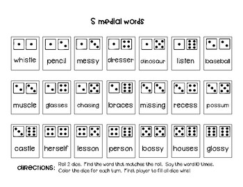 Articulation Dice Game (later developing sounds)