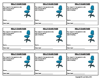 Free Incentive Coupon- Rolly Chair Pass- Use as Prize/Reward