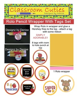 Rolo Pencil Wrapper and Tags Set