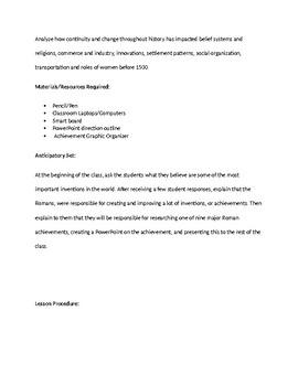 Roman Achievements Lesson/Project
