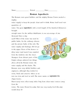 Roman Aqueducts Reading and Questions