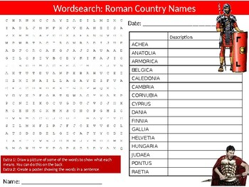 Roman Country Names Wordsearch Puzzle Sheet Keywords History Ancient Rome