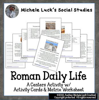 Roman Daily Life Activity Cards & Matrix Worksheet Centers Activity