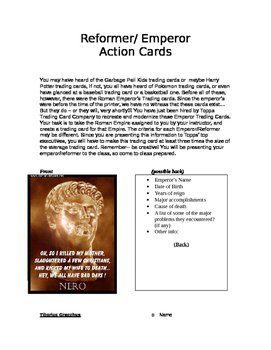 Roman Emperors Action Cards