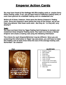 Roman Emperors Action Cards Assignment