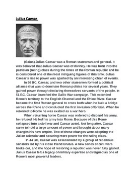 Roman Emperors Activity (With Higher Order Thinking Questions)