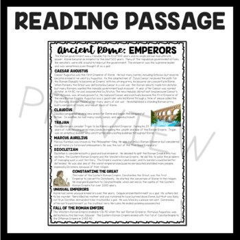 Roman Emperors Reading Comprehension Worksheet; Ancient Rome, Roman Empire