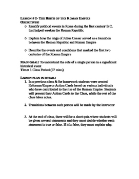 Roman Emperors: the Rise of an Empire- Roman Emperors Action Cards Lesson plan
