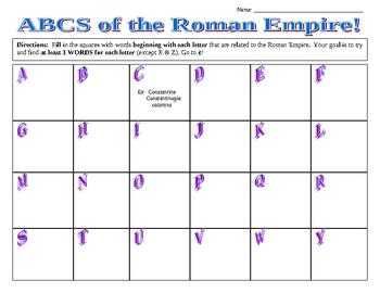 Roman Empire ABCs Worksheet