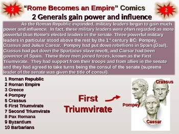 Roman Empire Comic Strips - engaging PPT & handout to cover transition to empire