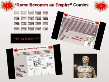 Roman Empire Comic Strips - engaging PPT & handout to cove
