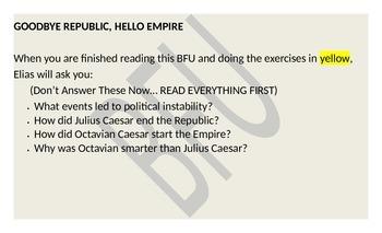 Roman Empire: Julius Caesar and Augustus (Reading & Activity)