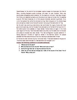 Roman Empire: The Burning of Rome: Tacitus Primary Source: Nero