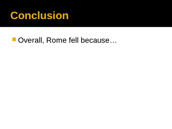 Roman Empire - Top 3 Reasons for Rome's Fall PowerPoint Template