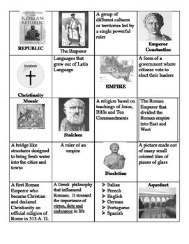 Roman Empire Vocabulary matching game