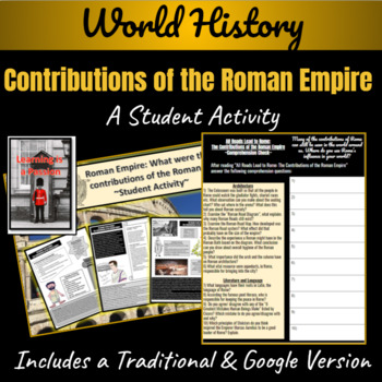 Roman Empire: What were the contributions of the Romans? Student Activity