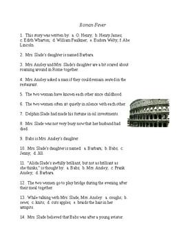 Roman Fever Reading Check Test/Quiz