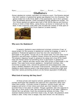 Roman Gladiators Reading & Questions