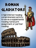 Roman Gladiators Reading Worksheet:  Ancient Rome Reading