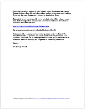 Roman Gladiators Primary Source Worksheet