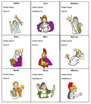 Roman Gods & Goddesses Mini-book and Cards