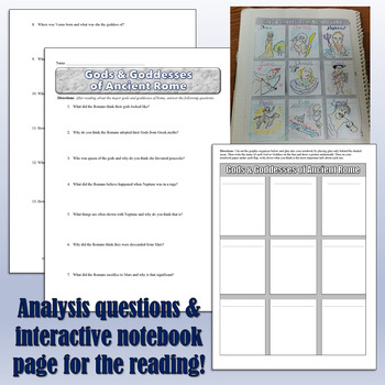 Roman Gods Reading, Worksheet, and Interactive Notebook Page