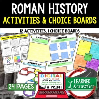 Roman History Choice Board Activities (Paper and Google Dr