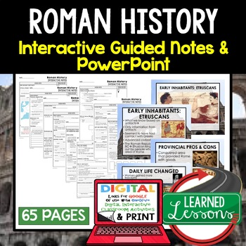 Roman History Guided Notes and PowerPoints, Interactive Notebooks, Google