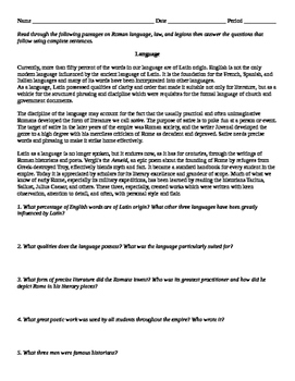 Roman Language, Laws, and Legions reading and guiding questions