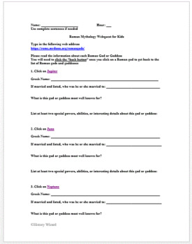 Roman Mythology Webquest for Kids