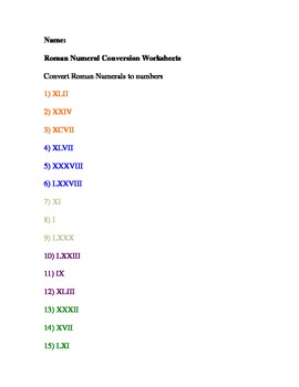 Roman Numeral Conversion Worksheets
