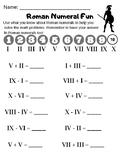 Roman Numeral Math Worksheet