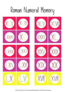 Roman Numeral Memory Game