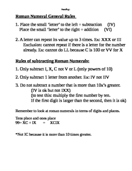 Roman Numeral Rules and Practice