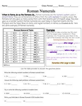 Roman Numeral Worksheet