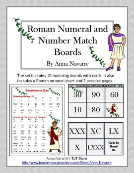 Roman Numeral and Number Match Boards