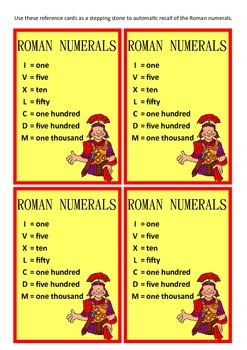 Roman Numeral reference card