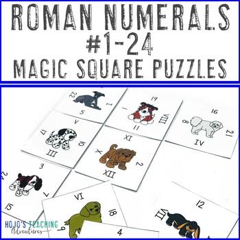 Roman Numerals 1-24 Math Center Game | Roman Numerals Puzzles