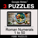 Roman Numerals (1 to 50) - Google Slides - Food Puzzles