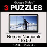 Roman Numerals (1 to 50) - Google Slides - Winter Puzzles