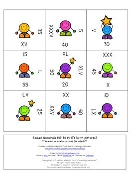 Roman Numerals #5-100 by 5s and 100-200 by 25s Math Center Game