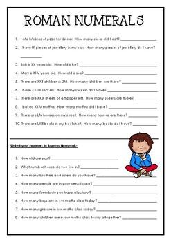 Roman Numerals Activity Worksheets