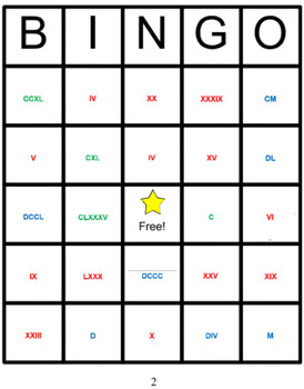 Roman Numerals Bingo with a difference