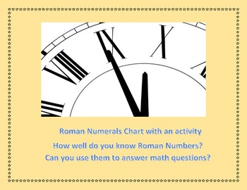 Roman Numerals Chart up to 1000 with Math related Worksheet and Problems
